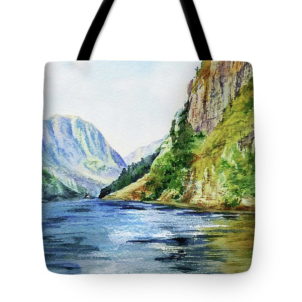 Lake In The Mountains Watercolor Tote Bag