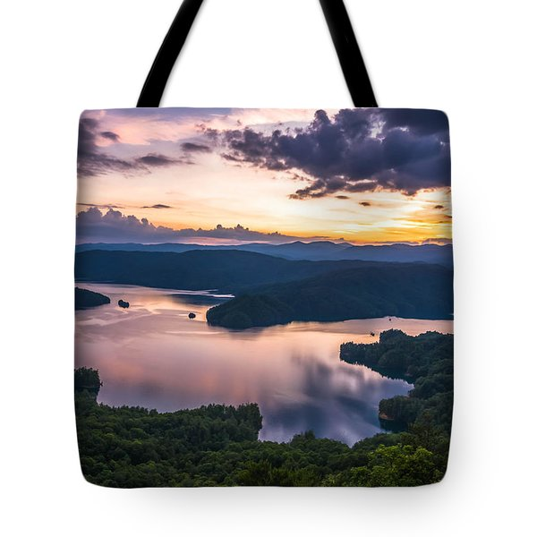 Tote Bag featuring the photograph Lake Jocassee Sunset by Serge Skiba