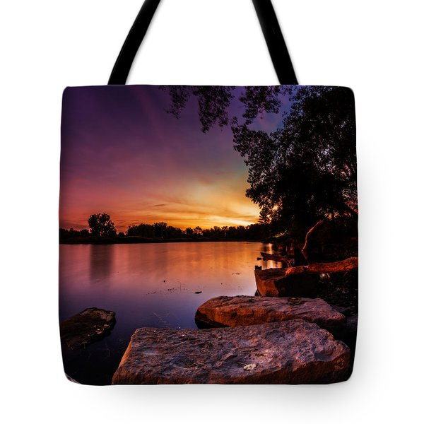 Lake Kirsty Twilight Tote Bag by Chris Bordeleau