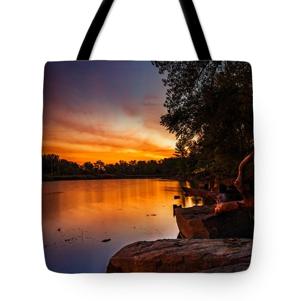 Lake Kirsty Twilight - Vertical Tote Bag by Chris Bordeleau