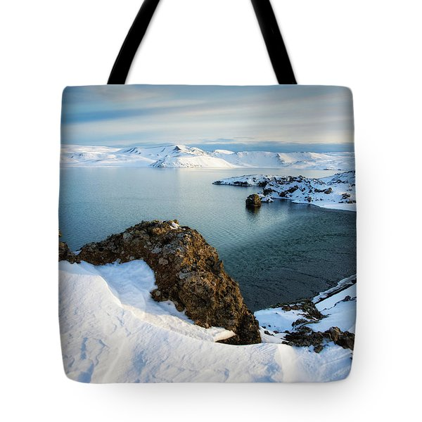 Tote Bag featuring the photograph Lake Kleifarvatn Iceland In Winter by Matthias Hauser