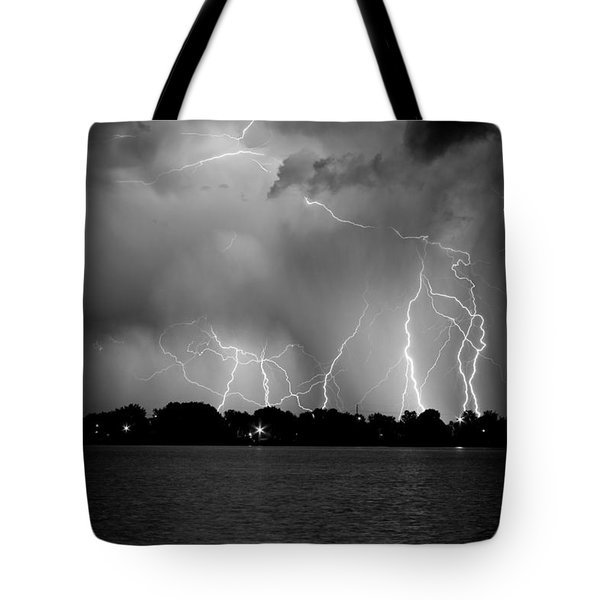 Lake Lightning Two Bw Tote Bag by James BO  Insogna