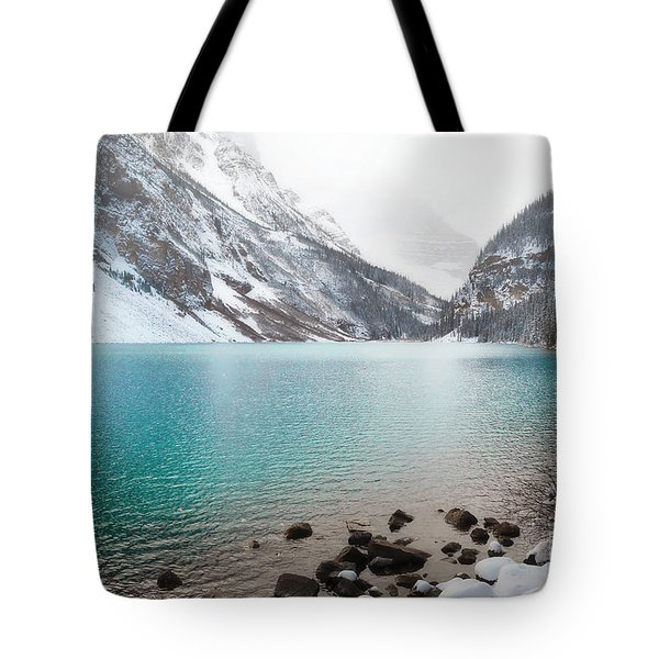 Lake Louise Mountain Snow Forest Landscape Tote Bag by Andrea Hazel Ihlefeld