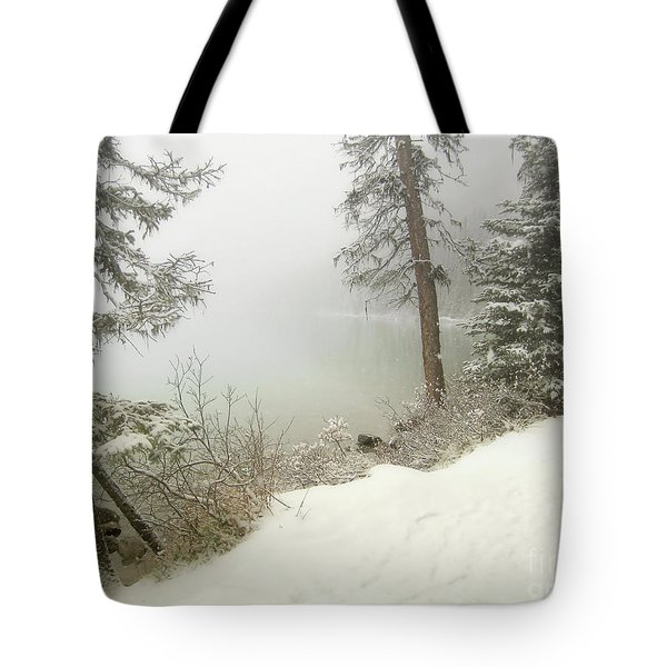 Tote Bag featuring the photograph Lake Louise Shore by Andrea Hazel Ihlefeld