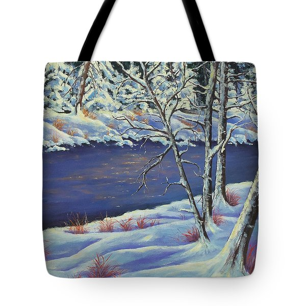 Tote Bag featuring the painting Lake Lucerne Wisconsin by Susan DeLain