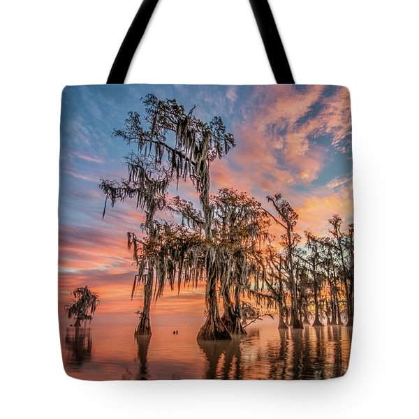 Lake Maurepas On Fire Tote Bag
