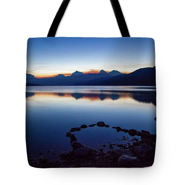 Tote Bag featuring the photograph Lake Mcdonald Sunrise Tranquility by Lon Dittrick