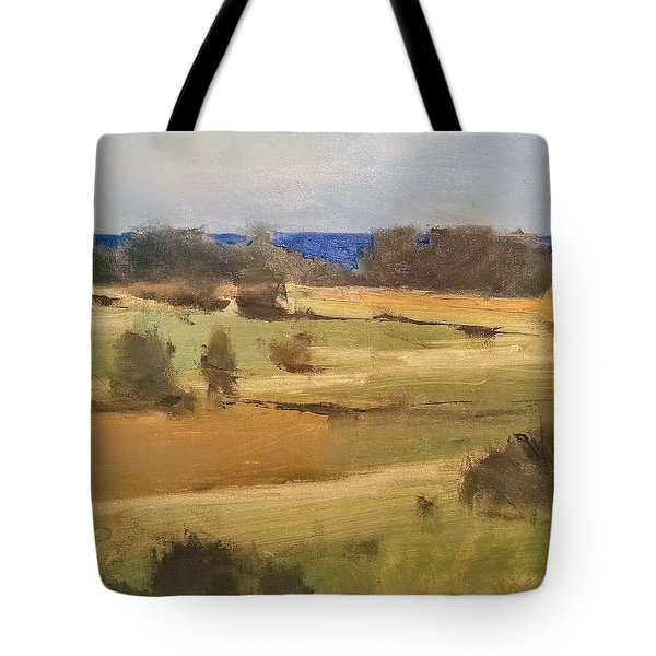Lake Michigan Across The Field Tote Bag