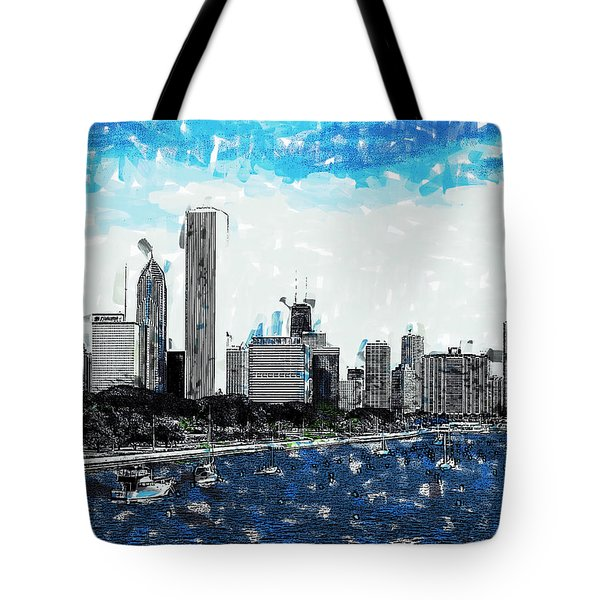 Lake Michigan And The Chicago Skyline Tote Bag