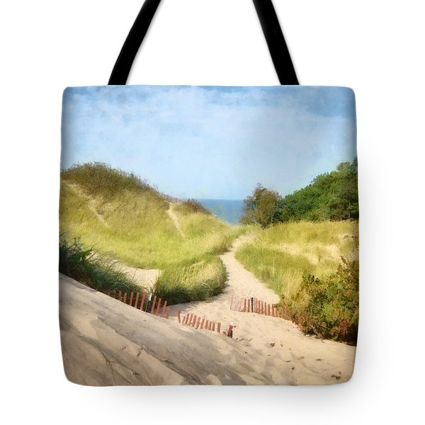 Tote Bag featuring the photograph lake Michigan Coastal Dune Path by Michelle Calkins