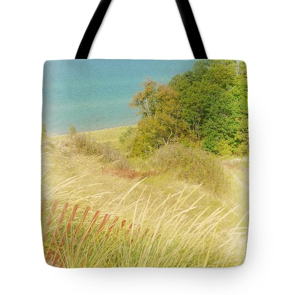 Tote Bag featuring the photograph Lake Michigan Dune View by Michelle Calkins