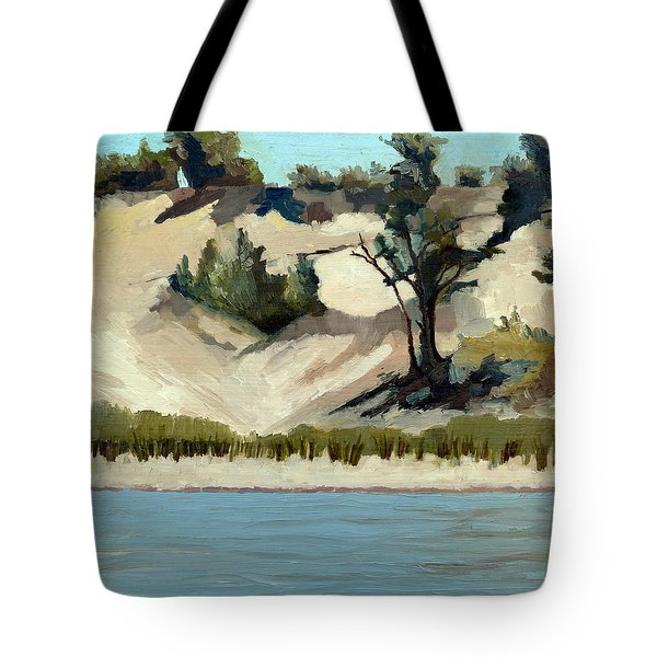 Tote Bag featuring the painting Lake Michigan Dune With Trees And Beach Grass by Michelle Calkins