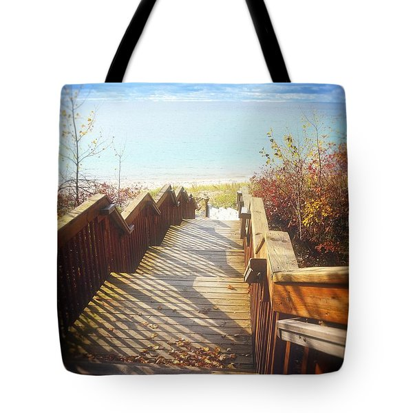 Tote Bag featuring the photograph Lake Michigan In The North by Michelle Calkins