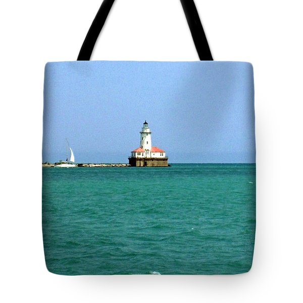 Tote Bag featuring the photograph Lake Michigan Light House by Haleh Mahbod