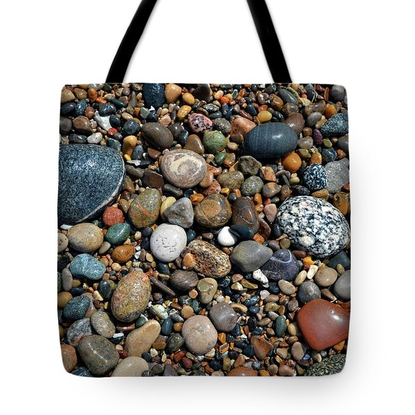 Tote Bag featuring the photograph Lake Michigan Stone Collection by Michelle Calkins