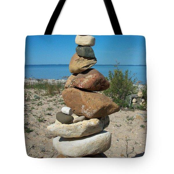 Lake Michigan Stone Pyramid Tote Bag by Johnny Yen