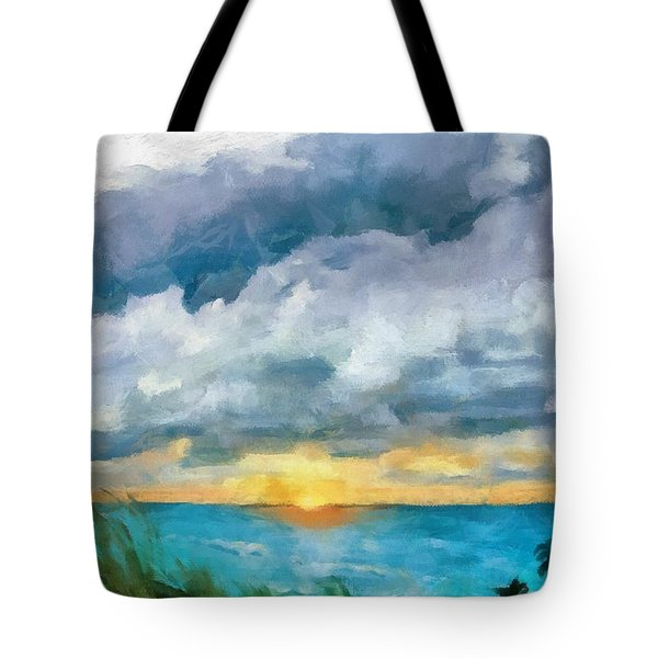 Lake Michigan Sunset Tote Bag by Michelle Calkins