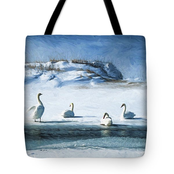 Lake Michigan Swans Tote Bag