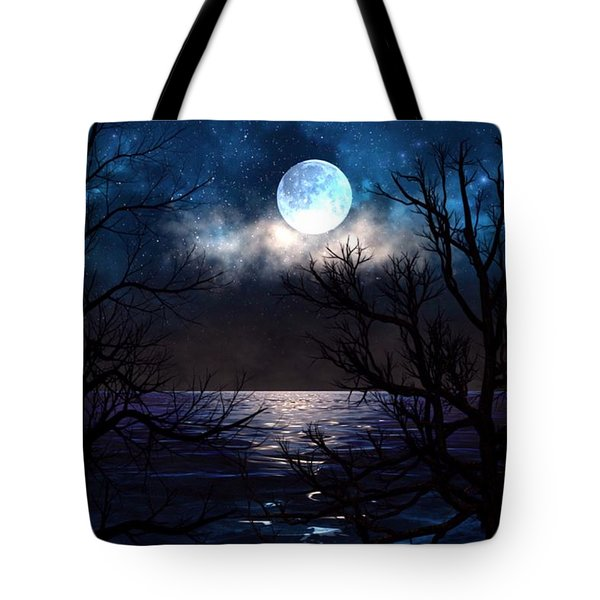Tote Bag featuring the painting Lake Midnight by Mark Taylor
