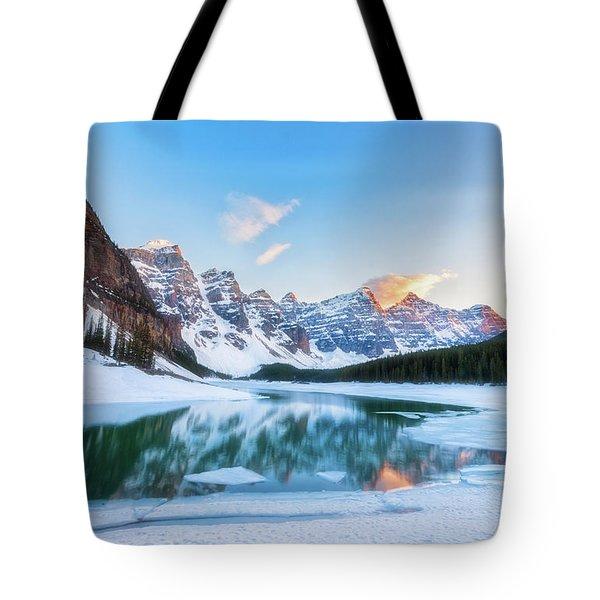 Lake Moraine Sunset Tote Bag