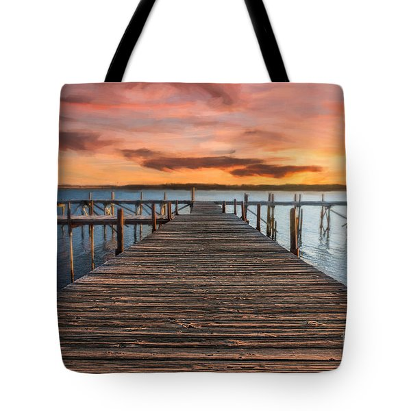 Lake Murray Lodge Pier At Sunrise Landscape Tote Bag by Tamyra Ayles