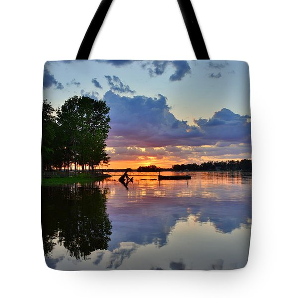 Tote Bag featuring the photograph Lake Murray Sc Reflections by Lisa Wooten
