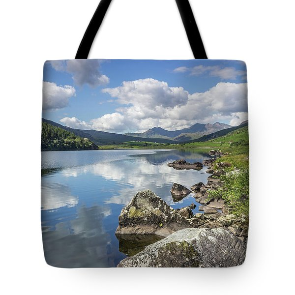 Tote Bag featuring the photograph Lake Mymbyr And Snowdon by Ian Mitchell
