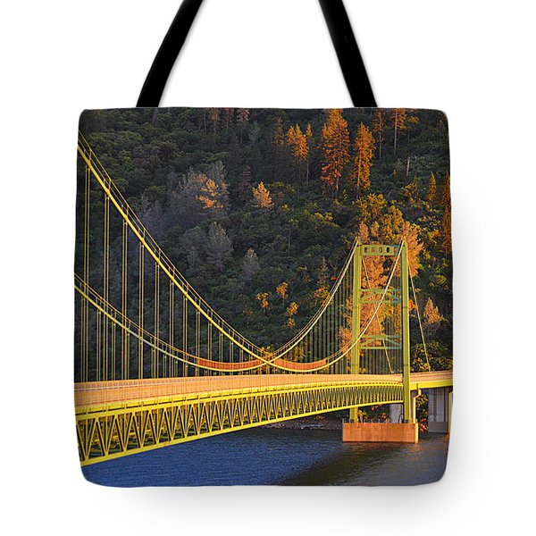 Lake Oroville Green Bridge At Sunset Tote Bag