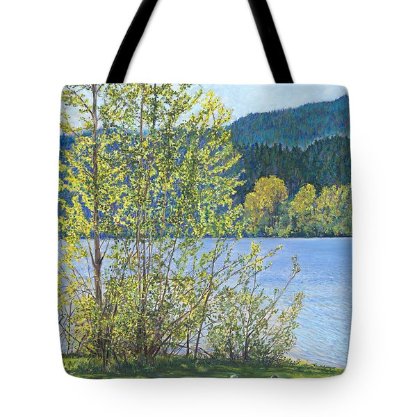 Lake Padden-memorial Bench Of Art And Stacia Christopher Tote Bag