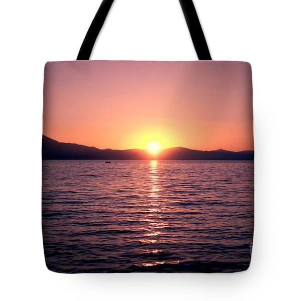 Lake Sunset 8pm Tote Bag