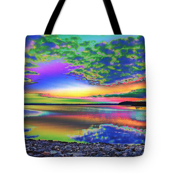 Lake Sunset Abstract Tote Bag