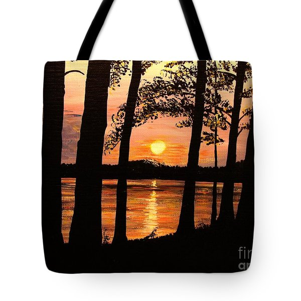 Tote Bag featuring the painting Lake Sunset by Patricia L Davidson