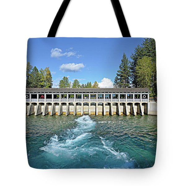 Tote Bag featuring the photograph Lake Tahoe Dam by David Lawson