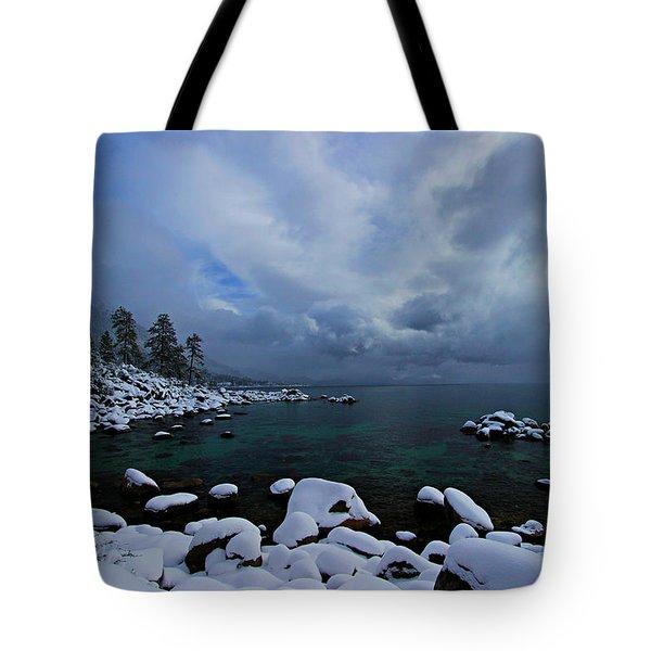 Lake Tahoe Snow Day Tote Bag by Sean Sarsfield