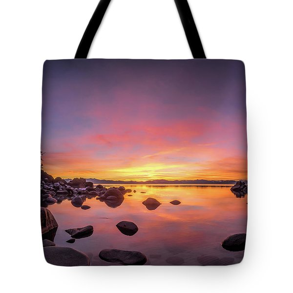 Lake Tahoe Sunset Peace Tote Bag