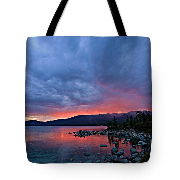 Lake Tahoe Sunset Portrait 2 Tote Bag by Sean Sarsfield