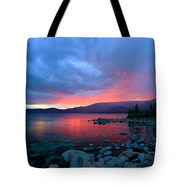 Lake Tahoe Sunset Tote Bag by Sean Sarsfield
