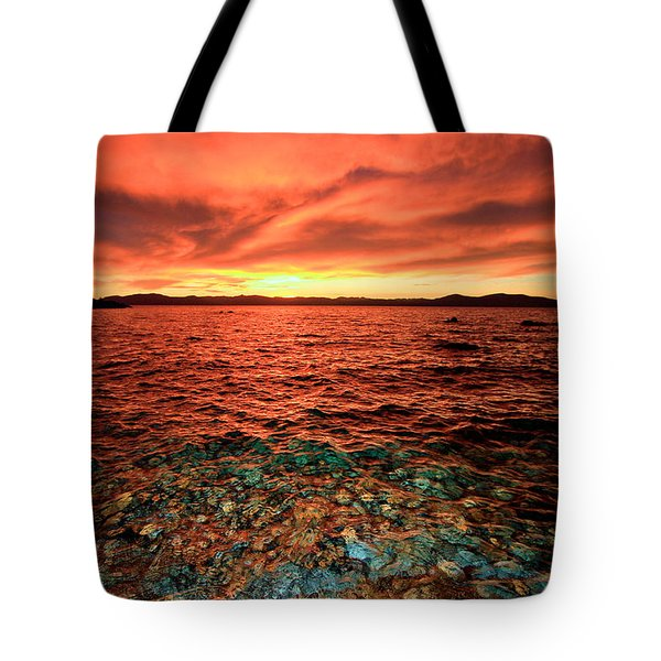 Lake Tahoe...blood Moon Sunset Tote Bag