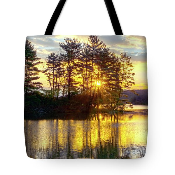 Lake Tiorati Golden Sunrise Tote Bag