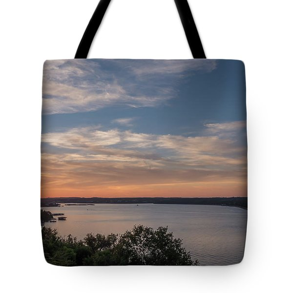 Lake Travis During Sunset With Clouds In The Sky Tote Bag