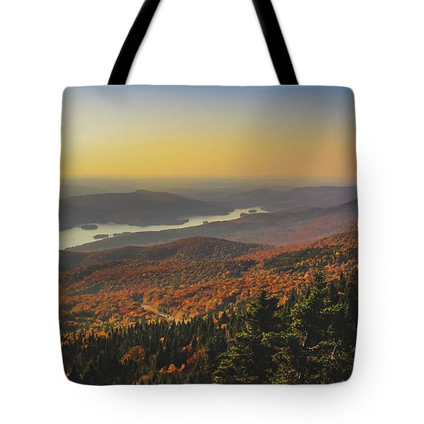 Tote Bag featuring the photograph Lake Tremblant At Sunset by Andy Konieczny