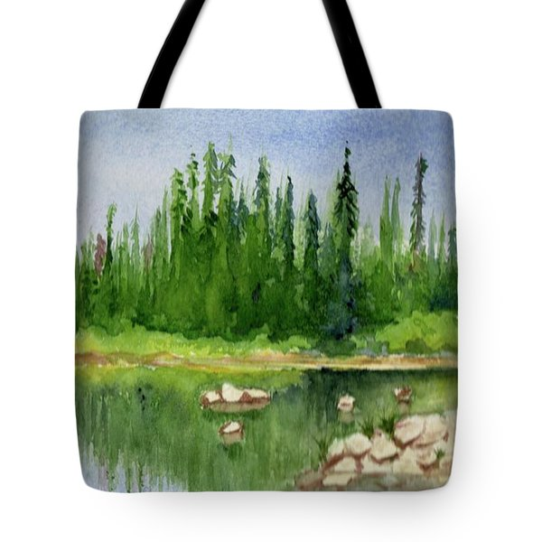 Tote Bag featuring the painting Lake View 1-2 by Yoshiko Mishina