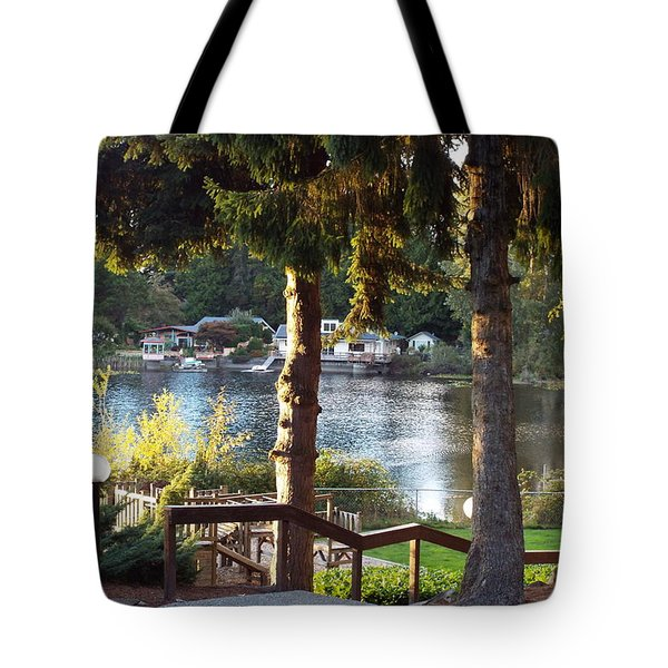 Tote Bag featuring the photograph  Beverly Lake View In Fall by Judyann Matthews