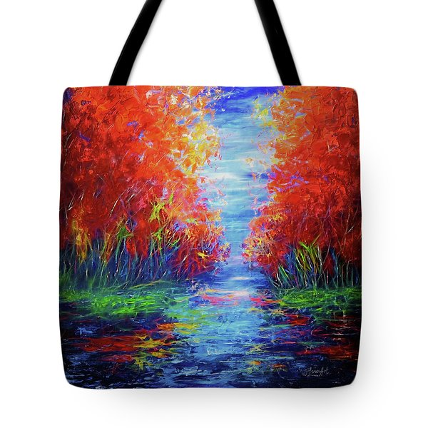 Olena Art Lake View Abstract Artwork Tote Bag