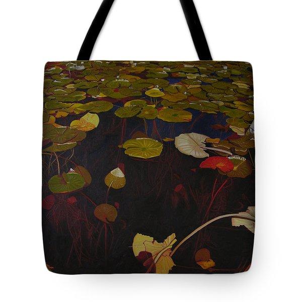 Tote Bag featuring the painting Lake Washington Lilypad 7 by Thu Nguyen