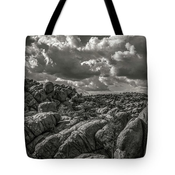 Tote Bag featuring the photograph Lake Watson Granite Rocks Prescott Arizona Bnw 2482 by David Haskett
