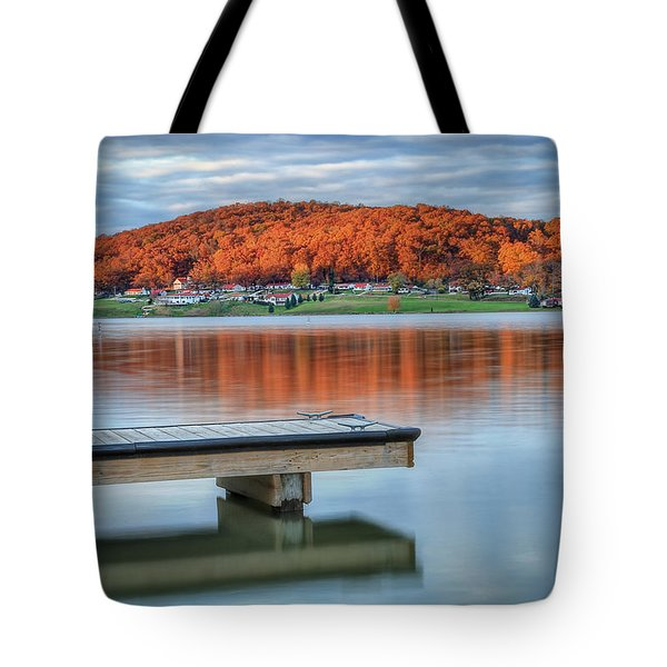 Tote Bag featuring the photograph Autumn Red At Lake White by Jaki Miller