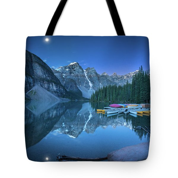 Tote Bag featuring the photograph Lake With Moon At Four Am by William Lee
