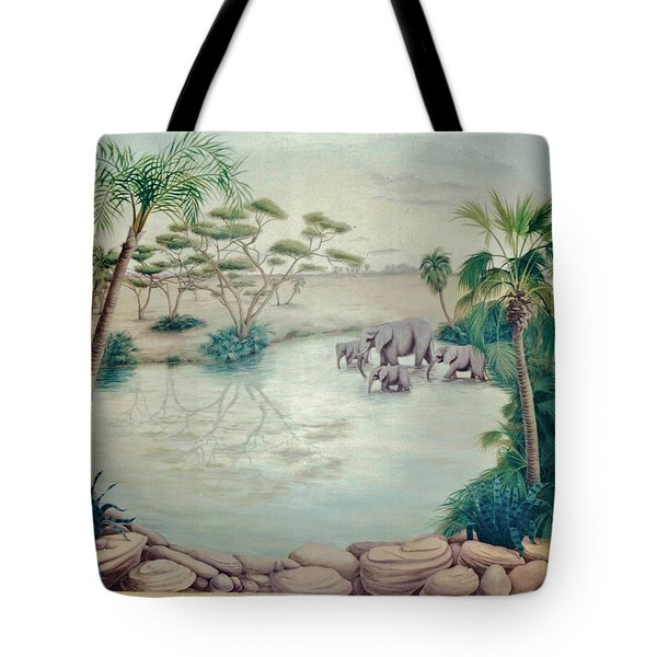 Lake With Oasis And Palm Trees Tote Bag