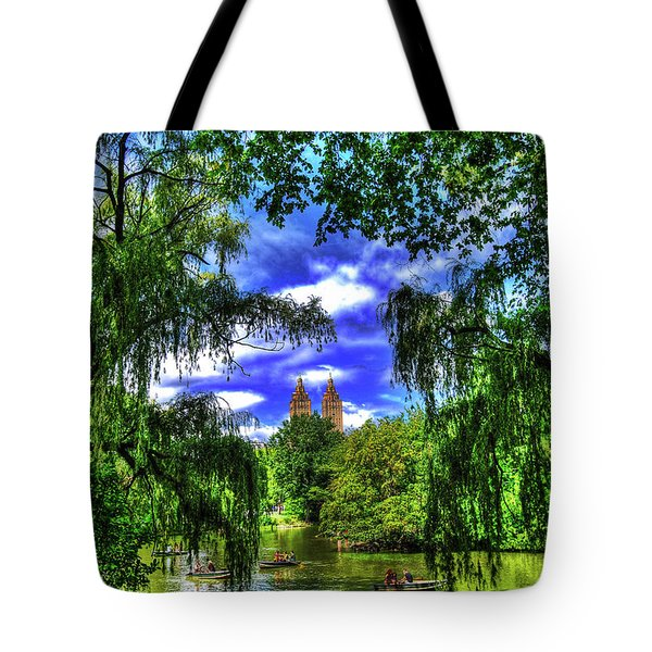 Lakeboat In Central Park Too Tote Bag by Randy Aveille